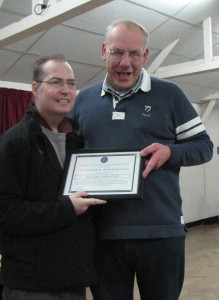 Eric Garnett ARPS, CPAGB receiving his Honorary Membership from Martin Reece