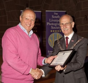 Mike Dunn FRPS receiving his Life Membership from L&CPU President Henry Mullarkey