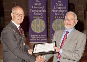 John Riley ARPS receiving his Life Membership from L&CPU President Henry Mullarkey