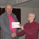 Martin Reece receiving his Very Highly Commended certificate from Tremaine Cornish