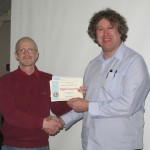 Paul Matthews receiving his Third Place certificate from Tremaine Cornish