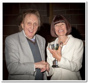 Barbara Green, our wonderful MC for the evening, receiving Photographer of the Year - Colour Prints, from Ken Dodd OBE