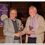 Alan Shufflebotham receiving some of his many trophies from Ken Dodd OBE