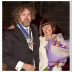 Barbara Green receiving flowers from our President Paul Matthews
