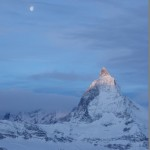 Sunrise The Matterhorn and the moon