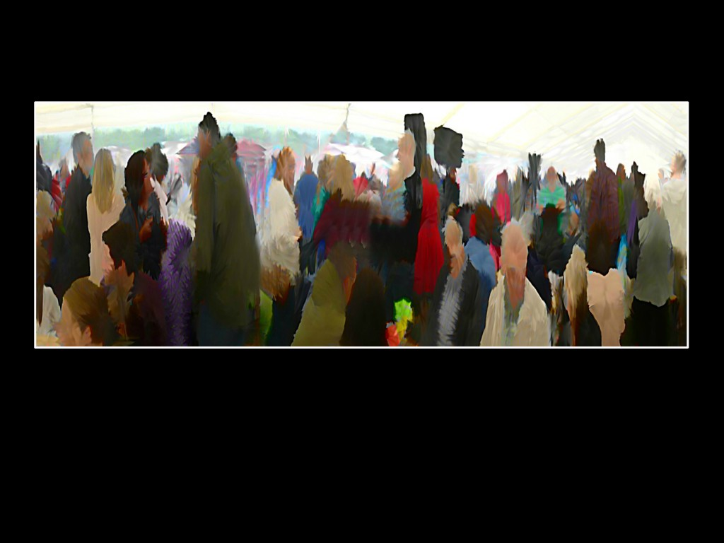 'Taking Shelter'. Taken during last years food and drink festival in Sefton Park . People took shelter under a marquee during a heavy downpour. Here i am experimenting using the panoramic feature on my camera, and then adding my beloved painterly effect.