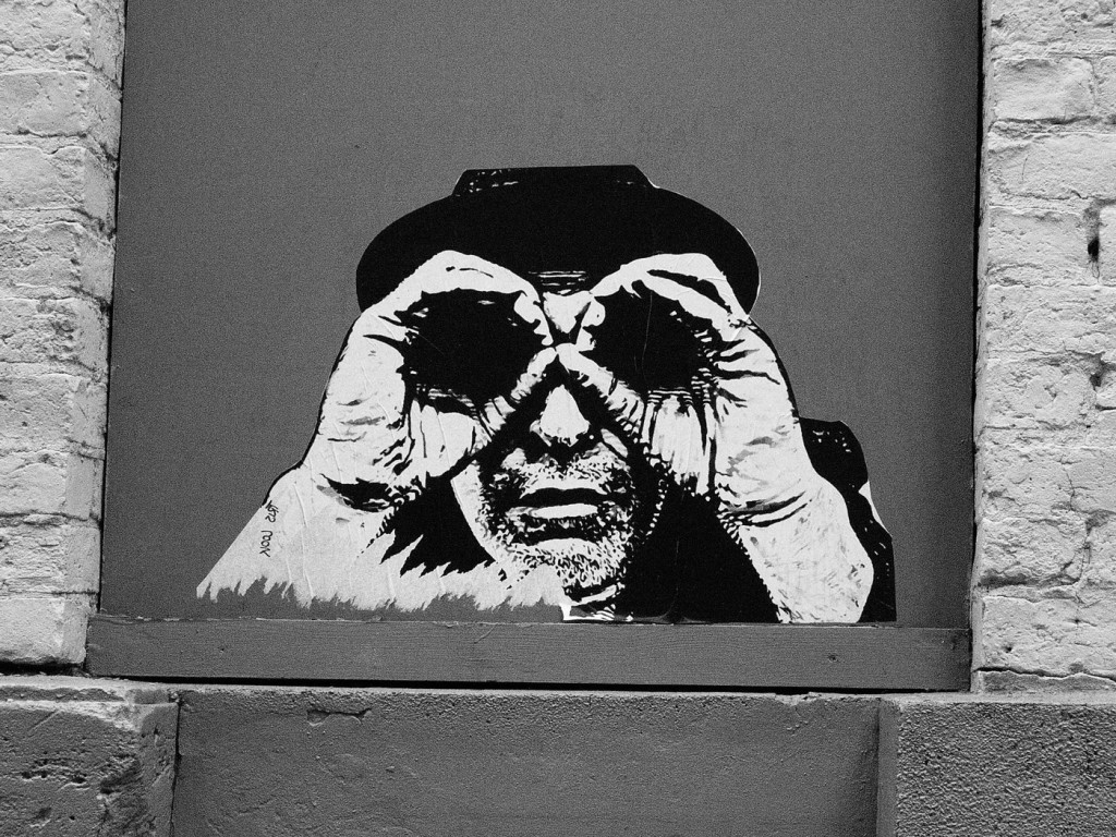Whose looking at who'. Found on wall in wood street opposite fact. This reminds me of Banksy' whose work I like. It's called 'whose looking at me?', because I am reminded of the voyeuristic nature of photography.