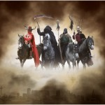 The pictures of the Four Horsemen were taken at the Liverpool May Horse Parade, for using in the Mersey River Festival then combined to make this picture.