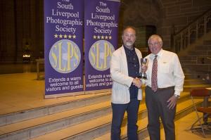 Bert Whittlestone receiving his award from Eamonn McCabe