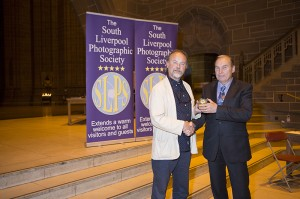 Maldwyn Jones receiving his award from Eamonn McCabe