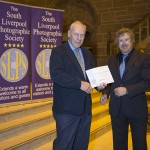 Martin Reece, OBE ARPS, receiving his Lifetime Membership award from President, Paul Matthews