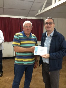 Bert Whittlestone receiving his Best Mono Print certificate.