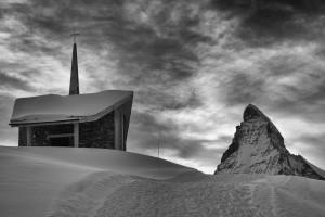 Riffleberg church and Matterhorn