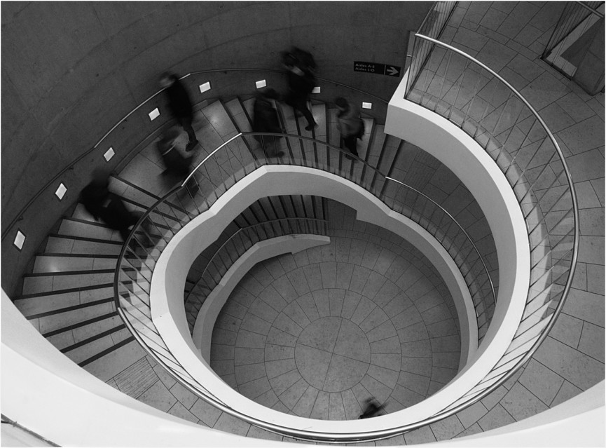 """Spiralling Down"" by Derek Lang  Winner of Mono Pictorial and Illustrative in the SLPS Annual Competition Summer 2016"
