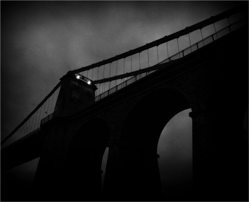 """First Place Mono Print. """"Bridge Abridged"""" by Michelle Burrows"""