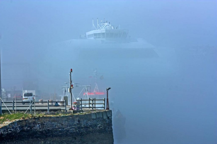 """Holyhead Port in the Fog"" by Peter Tormey"