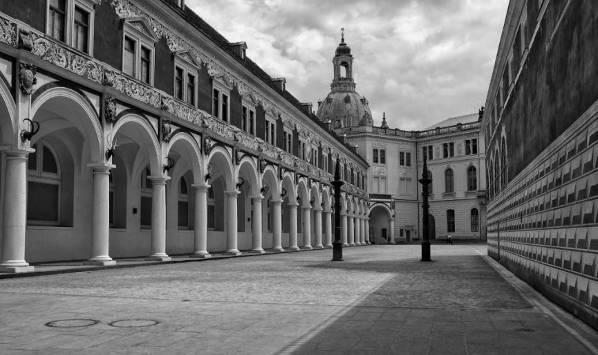 "First Place Digital Mono ""The Stables Courtyard, Dresden"" by Simon Rahilly"