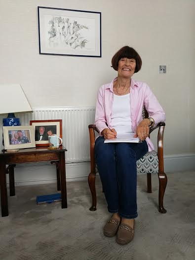Barbara at home working on her script for the Exhibition Opening.