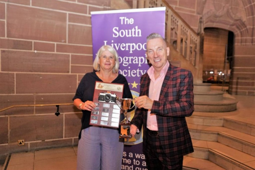 Gary Millar presents Sarah Bevan with the Eric Garnett Trophy for Best Image in Competition for her image 'Wonder'