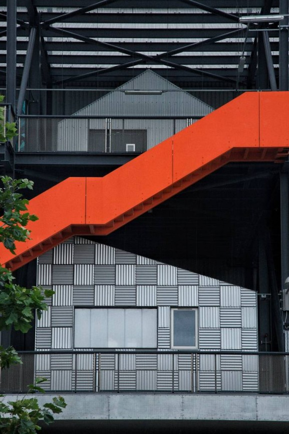 Metal Houses Red Stairs - Simon Rahilly LRPS
