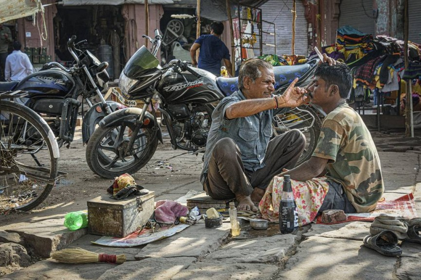 """First Place Colour PDI - """"Street Barber"""" by Ann Moore"""
