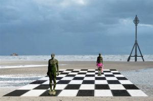 Commended - Chess at Crosby beach by Ann Roberts