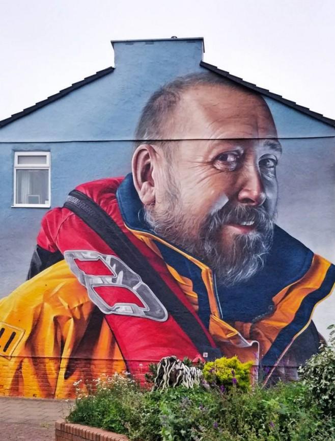 RNLI man wall mural by Phil Longfoot
