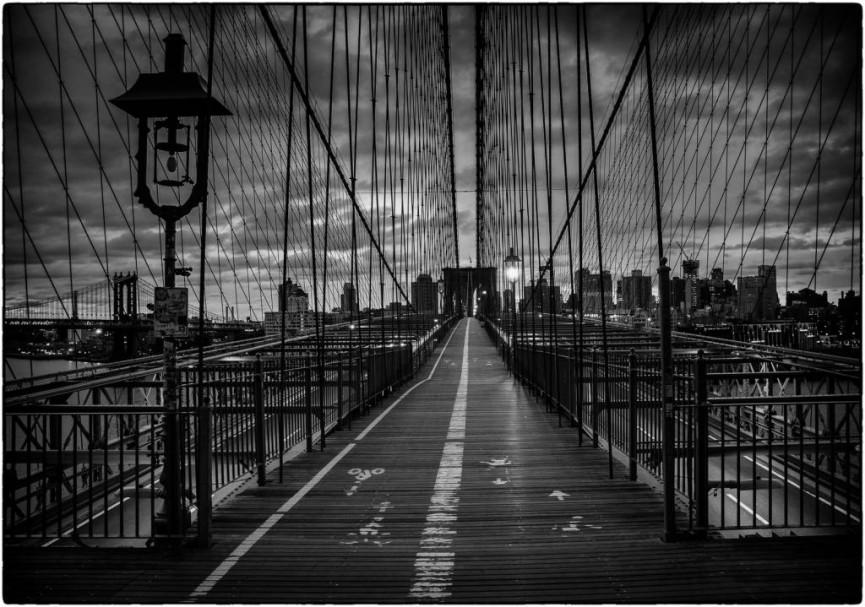 Digital Monochrome. 6AM Brooklyn Bridge NYC by Martin Reece ARPS