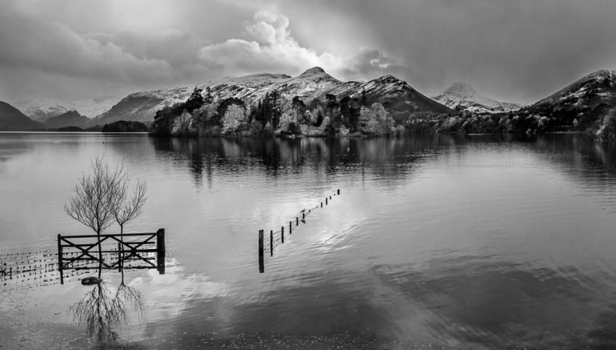 3rd place mono - Snowstorm over Derwentwater by Christine Lowe